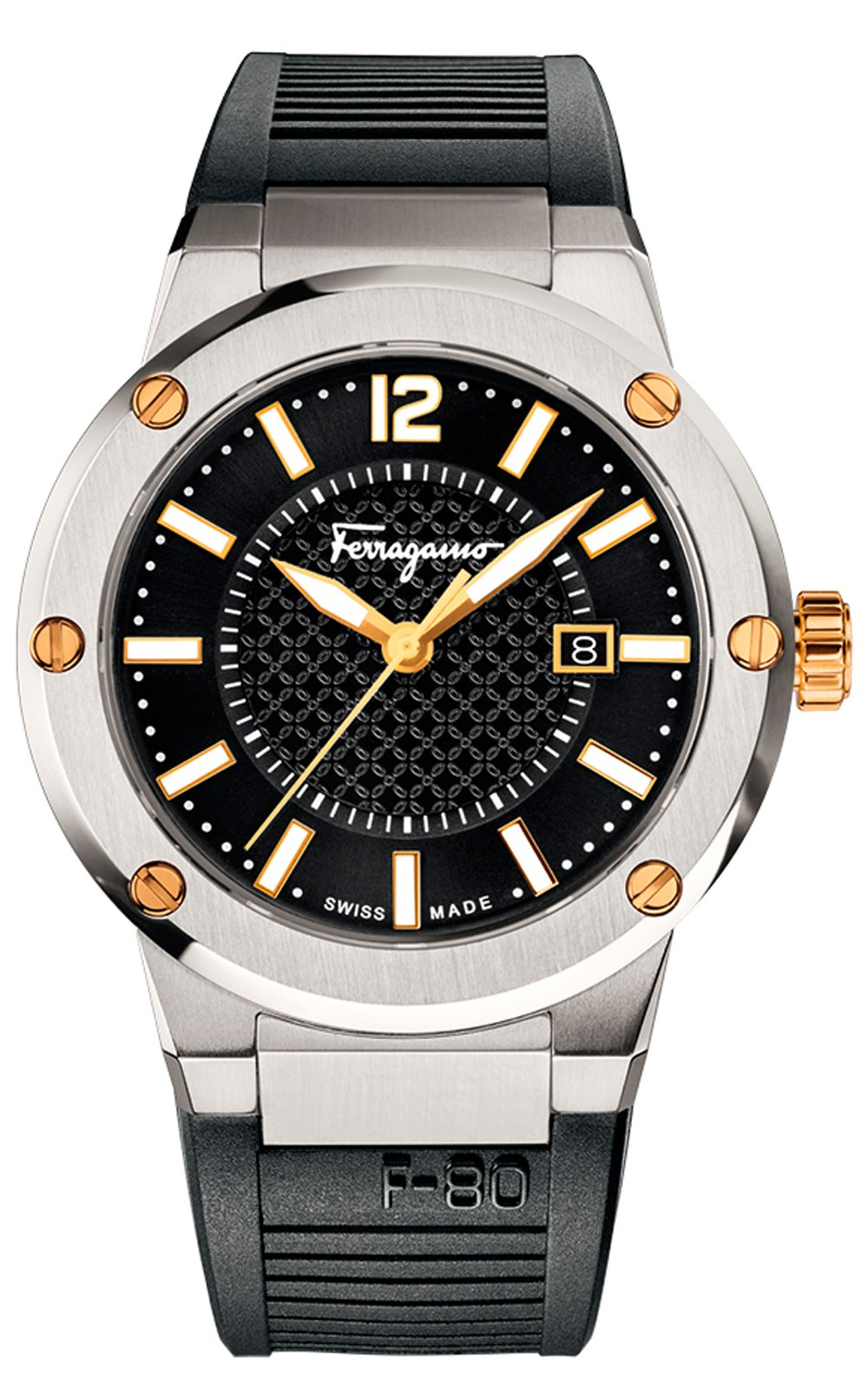 Salvatore Ferragamo F-80 LUMINOUS BLACK RUBBER DATE WRISTWATCH